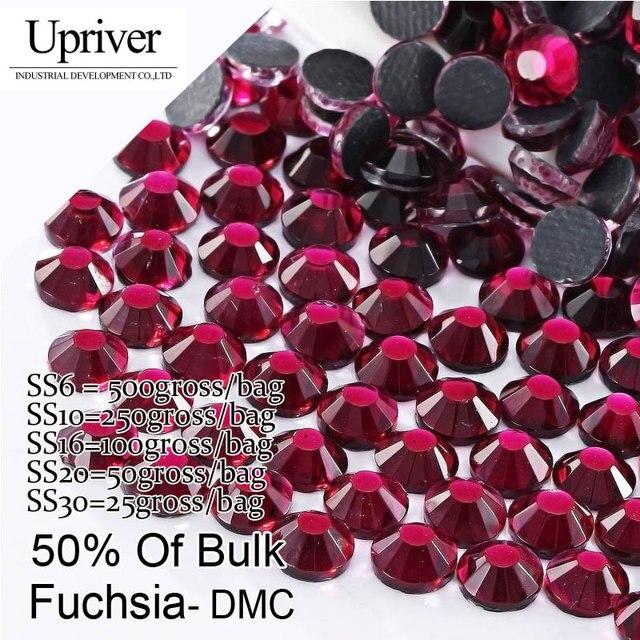 Bulk Packing Shiny Stones Flatback Best Quality SS6 SS10 SS16 SS20 SS30  Fuchsia Hotfix Rhinestones 66dc3163d483