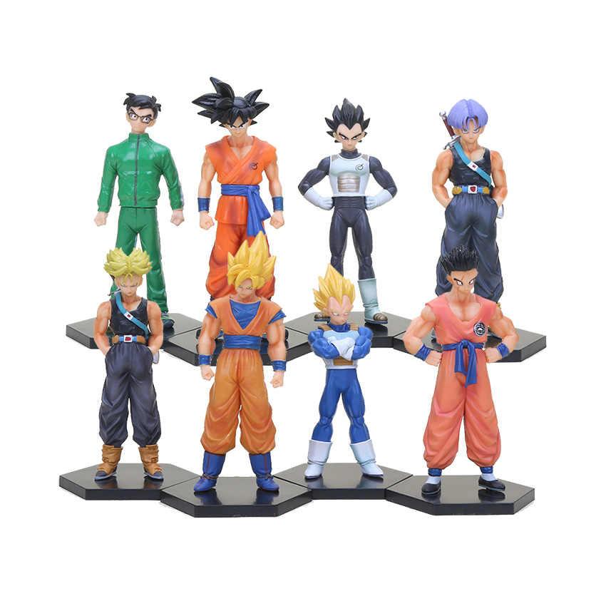 4 pçs/set Dragon Ball Z Super Saiyan Goku Son Gohan Trunks Vegeta Yamcha Figuras de Ação Brinquedo Presentes