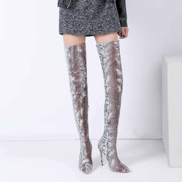 Sestito The Newest Woman Sexy Snakeskin Print Pointed Toe Over-the-knee Boots Ladies Side Zipper Thigh High Heels Dress Shoes