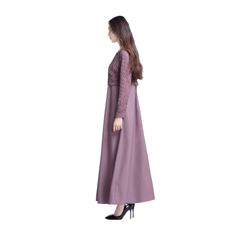 Купить с кэшбэком Women Islamic Muslim Abaya Maxi Dress Long Sleeve Dubai Abaya Hijab Lace Dress Turkish Islamic Dresses Islamic Clothe For Women
