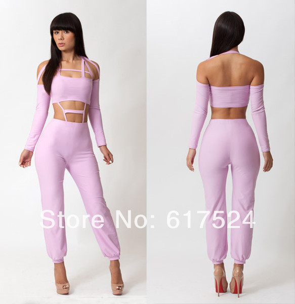 4ce24240687 Hot Spring Summer bodysuit 1set light purple Sexy rompers womens Jumpsuit  Cross Hollow Cut Out Club Wear Nightclub Jumpsuits