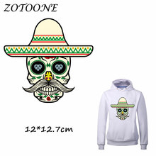 ZOTOONE Sugar Skull Patches Iron on Transfer for Clothing T Shirt Beaded Applique Clothes DIY Accessory Decoration C