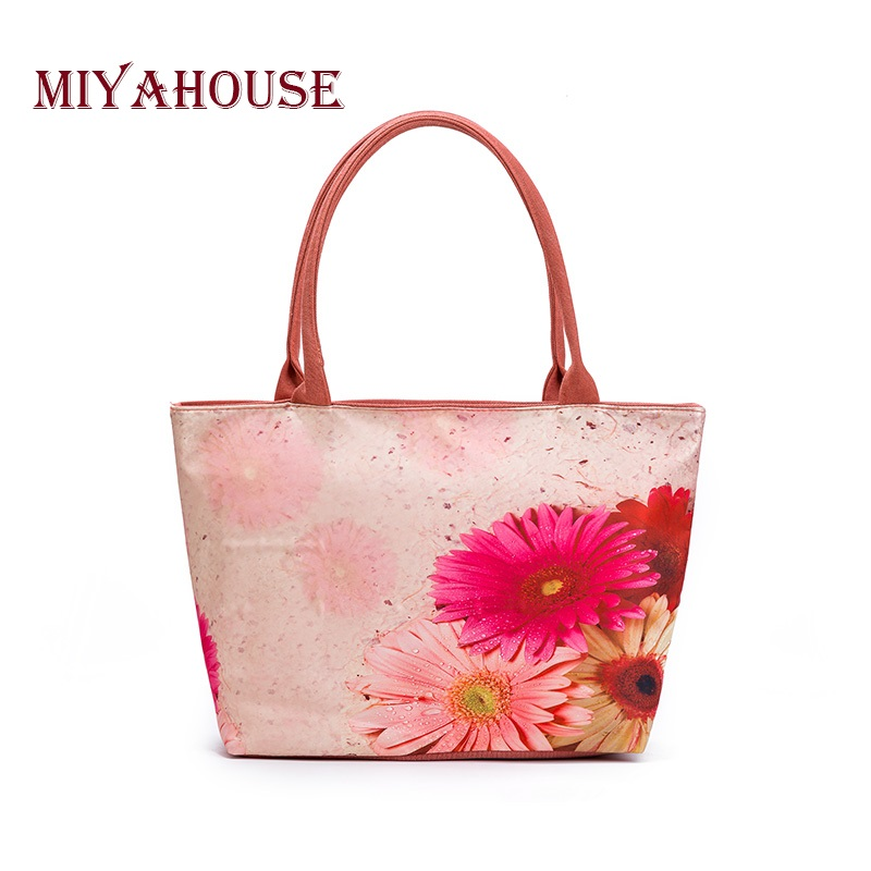 Miyahouse Summer Canvas Tote Bags Women Colorful Floral Printed Shoulder Handbags Lady Large Capacity Female Canvas Beach Bag floral printed canvas tote female single shopping bags large capacity women canvas beach bags casual tote feminina