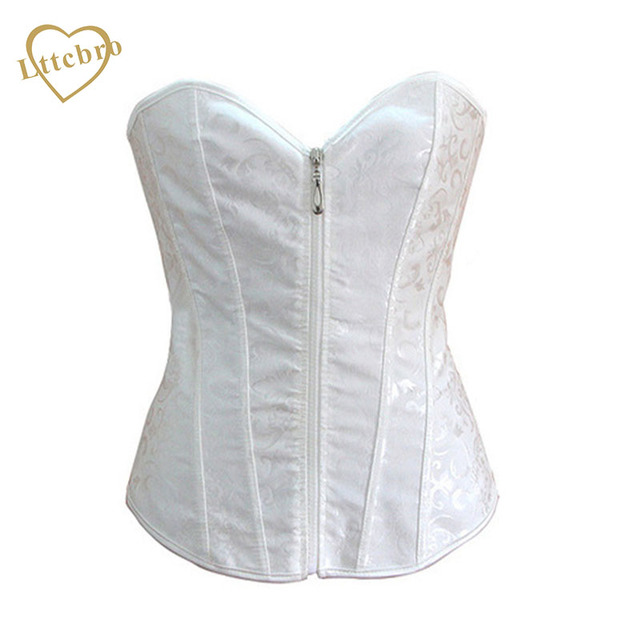 70679cb5810ea Zipper Corset Sexy Bustier Corpete Gothic Bridal White Wedding Lingerie Corselet  Overbust Brocade Push Up Corsets