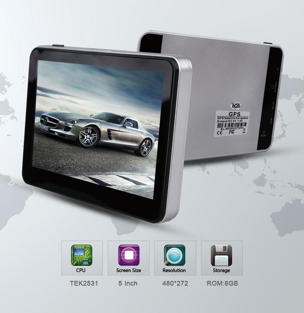 5 polegada HD Tela de Navegação GPS Do Veículo 800 M/FM/8 GB/128 MB Novo Mapa Para rússia/Bielorrússia/Europa/EUA Caminhão MTK CE6.0 Navegador