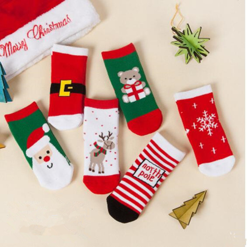 AJLONGER Kids Socks Cartoon Cotton Baby Christmas Pattern New Arrival Autumn Winter