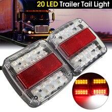 2×20 светодиодный автомобиля хвостовая часть грузовика световая сигнализация, световые приборы задние фонари Водонепроницаемый Tailligh сзади отложным воротником Подсветка регистрационного номера для прицепа 46 светодиодный