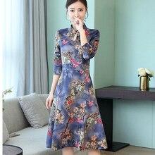Purple Suede dress long sleeve 2018 women Chinese print floral midi a line vintage elegant party dresses winter autumn clothing