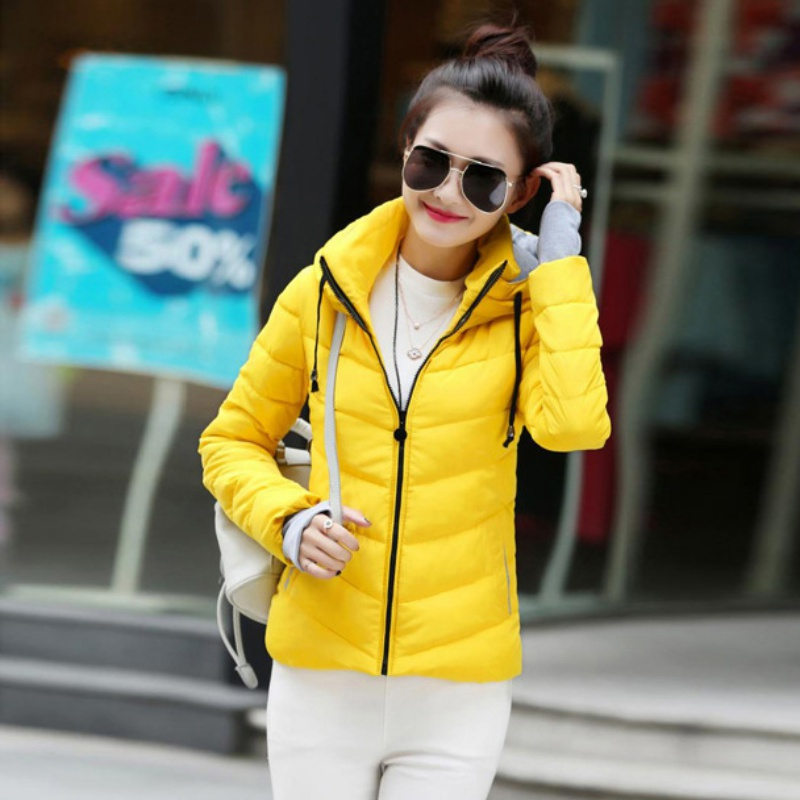 2017 Winter Down Jacket Women Plus Size Solid hooded Coats Female Slim basic Tops Outerwear