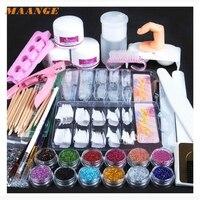Acrylic Powder Glitter Nail Brush False Finger Pump Nail Art Tools Kit Set G6919