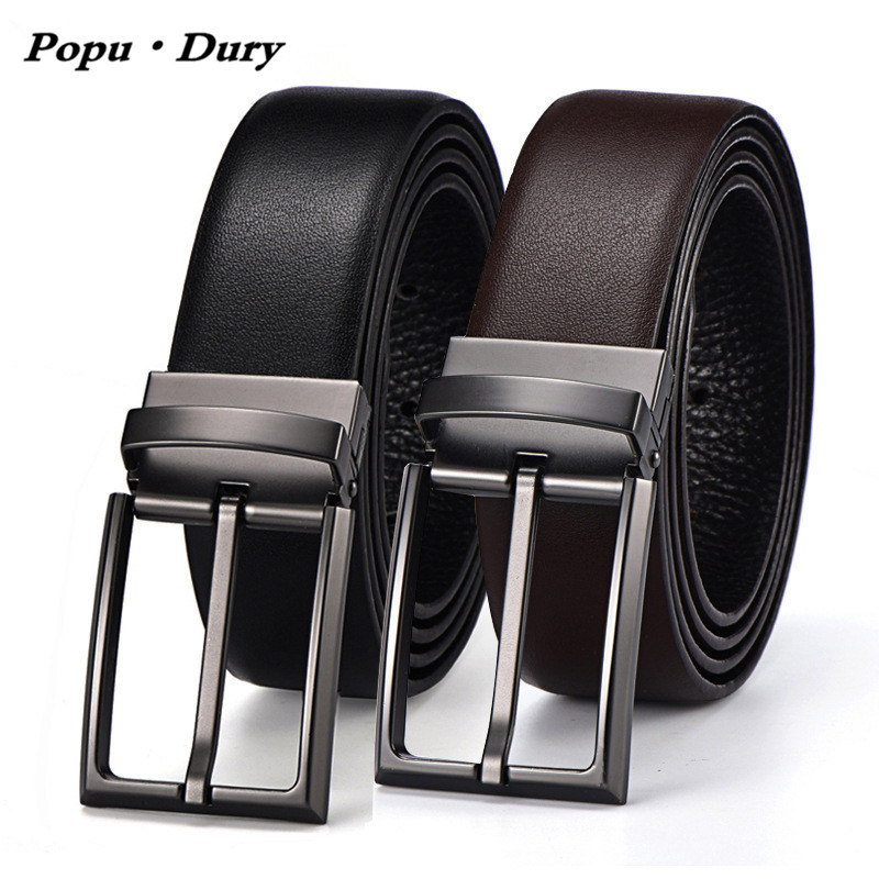 Popu`Dury 100% Cowhide Matte Leather Men Belts High Quality First Layer Cowskin Leather Belt 360 Rotate Buckle Both Sides Used