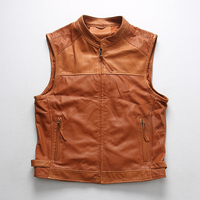 Read Description! Asian size quality sheep leather waistcoat men's stylish mesh vest