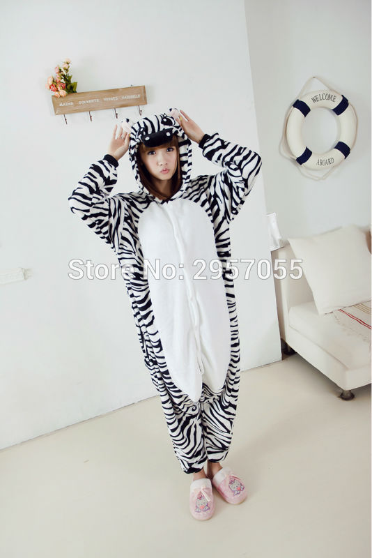 New Unisex Adult Flannel Pajamas Animal Pyjama Suits Cosplay Adult Winter Garment Cute Cartoon Animal Pajama zebra