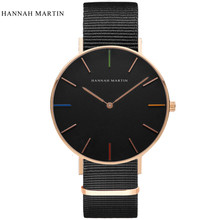 Hannah Martin Watch Men Watch Top Brand Nylon Strap Men's Watch Clock saat erkek kol saati relogio masculino reloj hombre