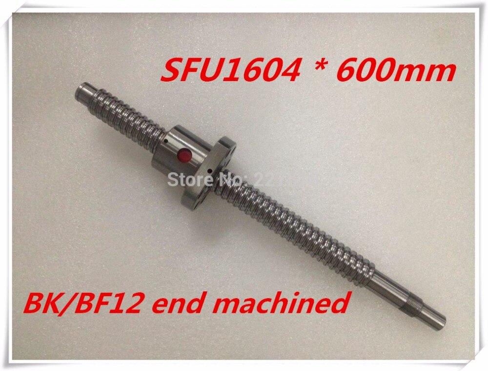 SFU1604 600mm Ball Screw Set : 1 pc ball screw RM1604 600mm+1pc SFU1604 ball nut cnc part standard end machined for BK/BF12 sfu1604 800mm ball screw rm1604 l800mm rolled ball screw 1pc sfu1604 ball nut 1pc cnc parts carving machine accessories