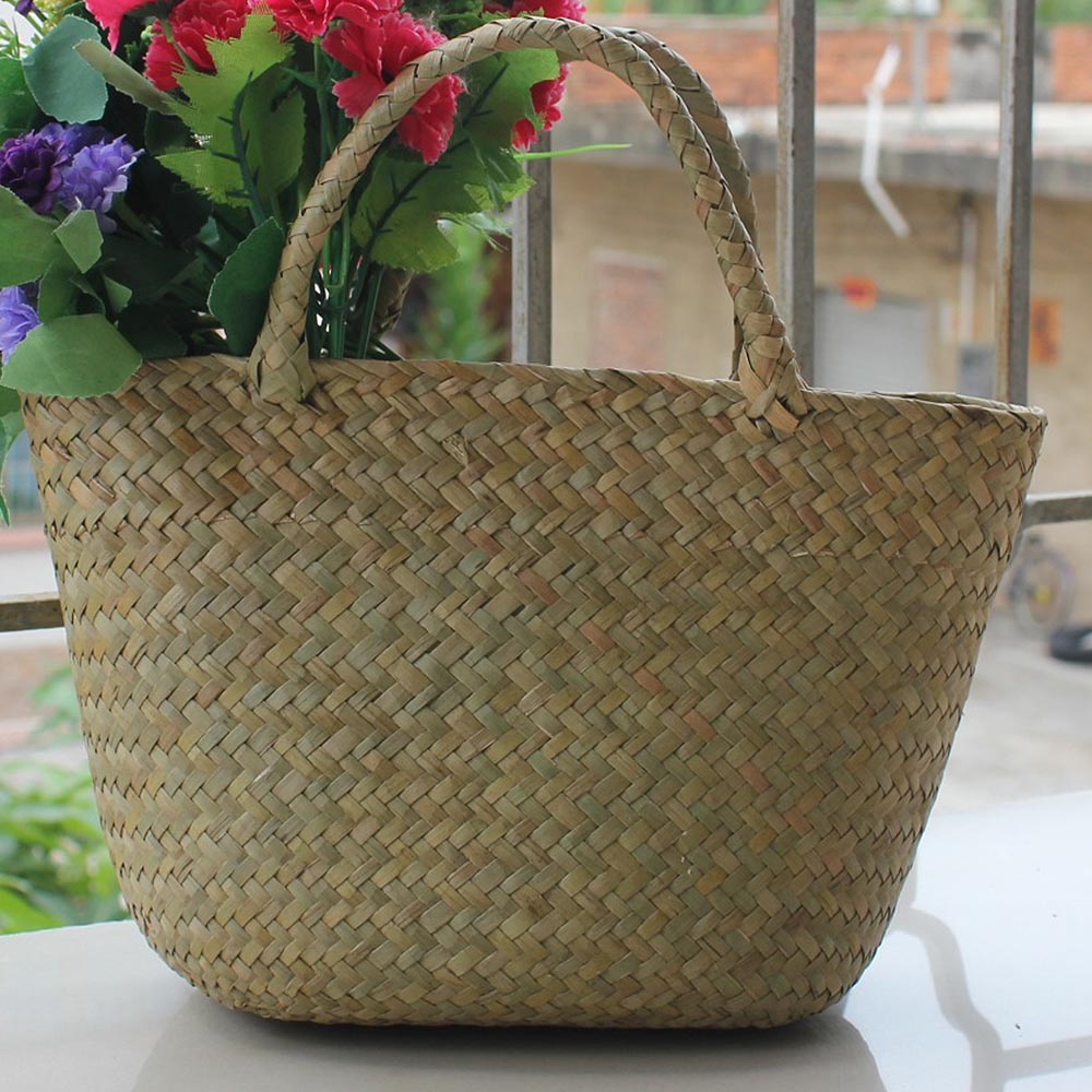 New Women Fashion Straw Bag Seaweed Woven Shoulder Bag Travel Holiday Beach Handbag Handmade Shopping Pocket