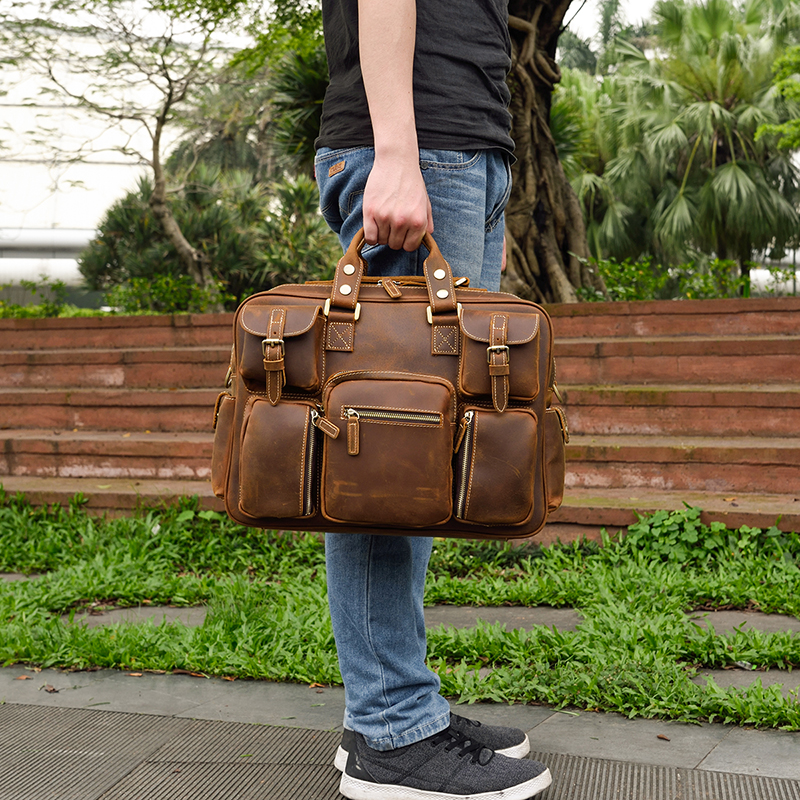 MAHEU Fashion Natural Leather Men Briefcases With Shoulder Strap Mans Laptop Notebook Hand Bag 2019 New