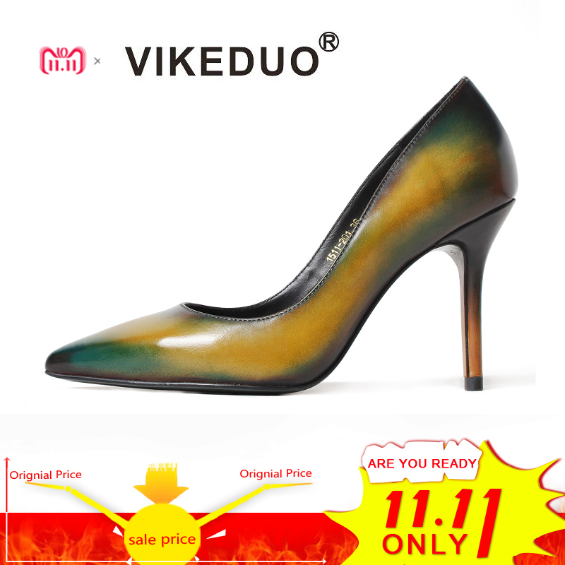 Vikeduo Classic Handmade Patina Women Genuine leather Shoes Fashion Party Dancing Wedding Dress Shoe for Ladies High Heel pumps ladies handmade fashion patent patchwork 100mm wedding evening high heel pumps shoes cke103