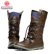 hot deal buy plus size 32-52 vintage motorcycle ankle boots for women winter autumn snow boots leather flats motorcycle boots shoes