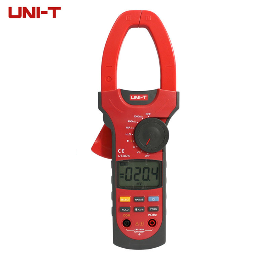 UNI-T UT207A True-RMS Digital Clamp Meter Multimeter ACA & DCA Clamp Meter 1000A, Voltage Current Resistance Frequency
