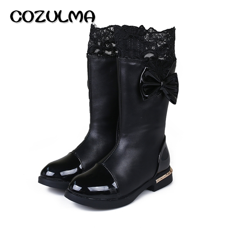 COZULMA Autumn Winter Girls Boots Kids Children Shoes Princess High Snow Boots Bow Lace Warm Boots