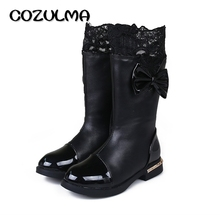 COZULMA Autumn Winter Girls Boots Kids Children Shoes Princess High Snow Boots Bow Lace Warm Boots with Fur Plush Mid-Calf Shoes