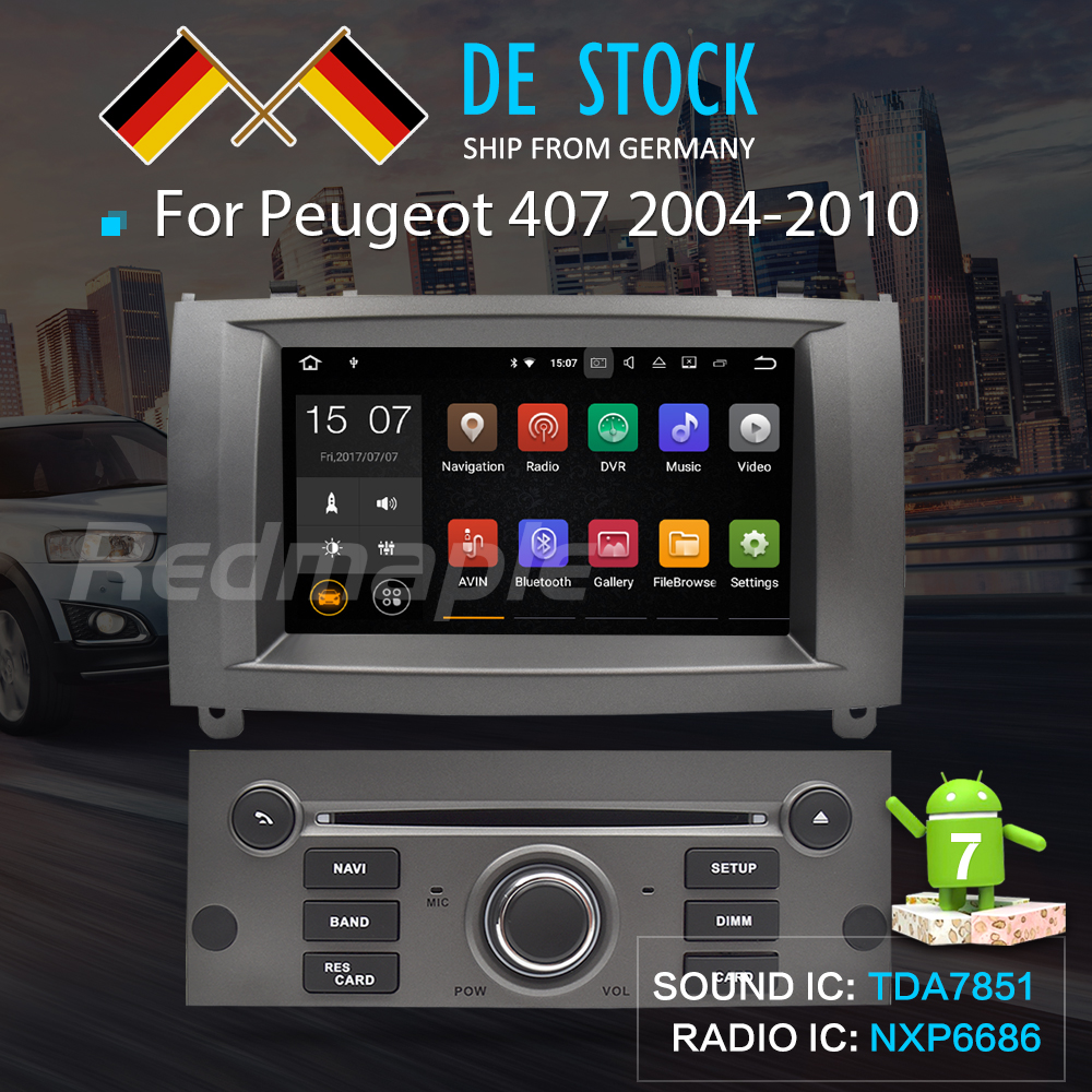 7Android7.1 Car DVD Player Multimedia Stereo For Peugeot 407 2004 2005 2006 2007 2008 2009 2010 Autoradio GPS Navigation