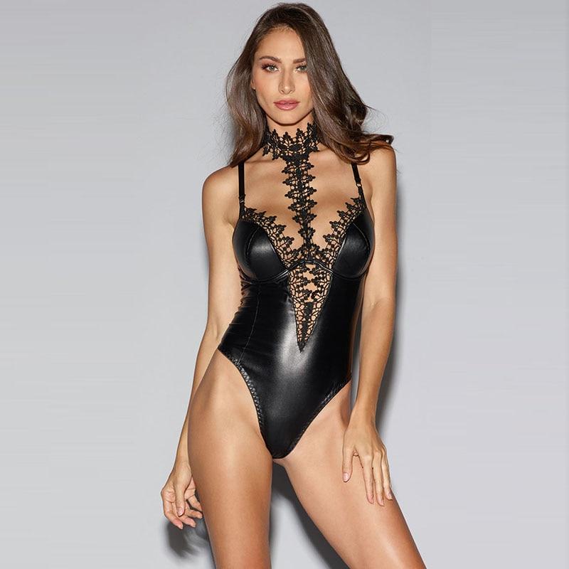 Stylish Spaghetti Strap Backless Bodysuit Women Black Summer Hot Bodysuits 2018 Lace Collor Applique Gothic Wet Look Bodysuit