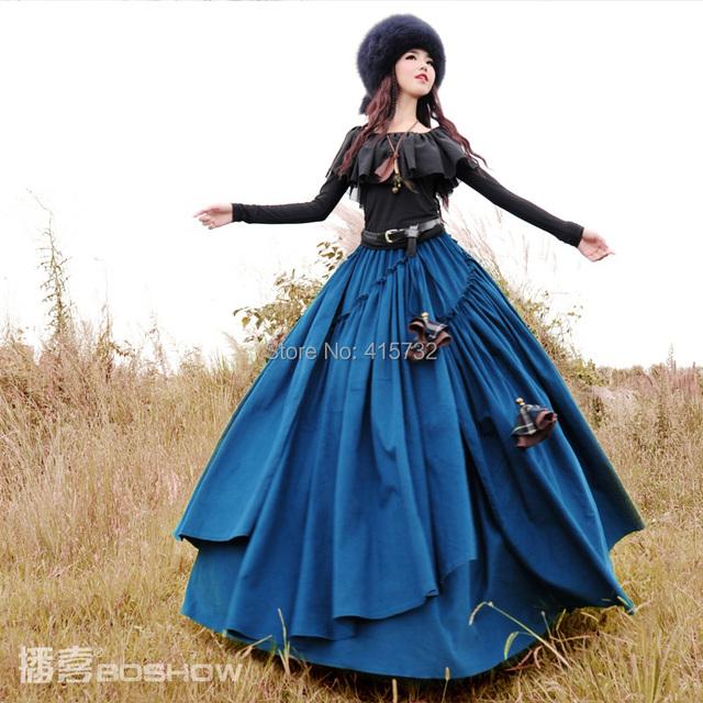 O Envio gratuito de 2017 Boshow Outono E Inverno Longo Maxi Elástico cintura Saia em camadas Com Big Hem Para Mulheres Veludo Cotelê Boêmio saia