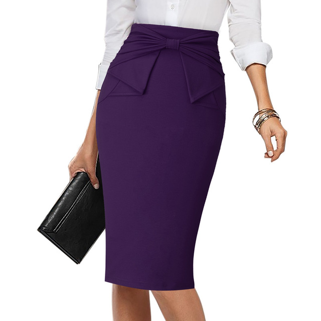 Vfemage Womens Elegant Pleated Bow High Waist Slim Wear To Work Office Business Party Cocktail Fitted Bodycon Pencil Skirt 865