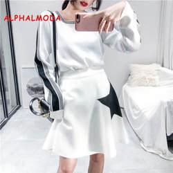 ALPHALMODA звезды трикотажные юбки + свитер с длинными рукавами Осень-зима женские 2 шт. костюмы Свободные повседневные полосатые Джемперы Юбки