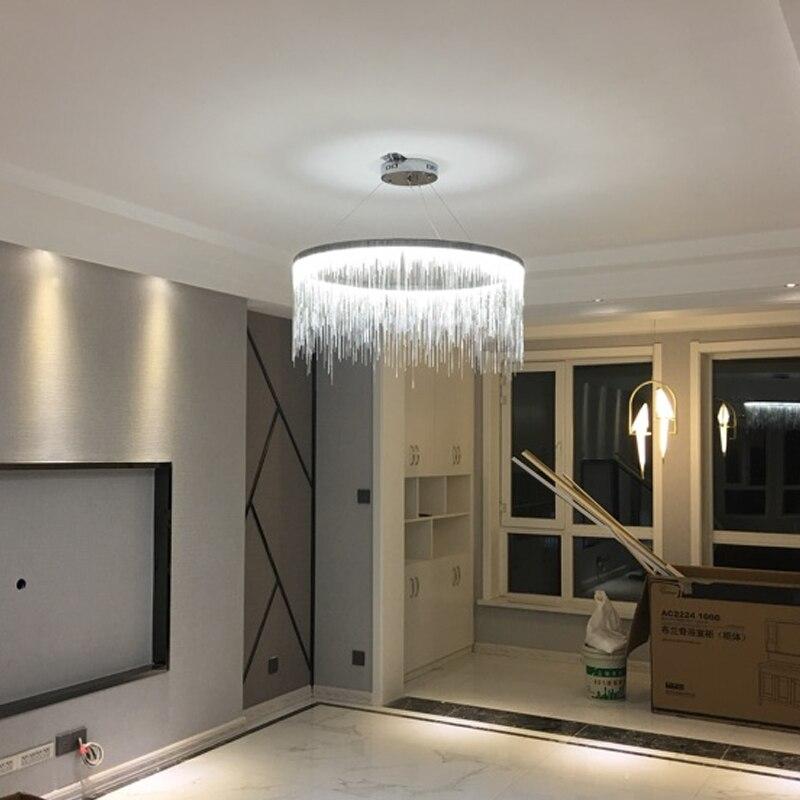 Lustr s hliníkovým řetězem pro nordic art Lustry do jídelny obývací pokoj kulatá vila vedená lustry osvětlení dekorace Mariage