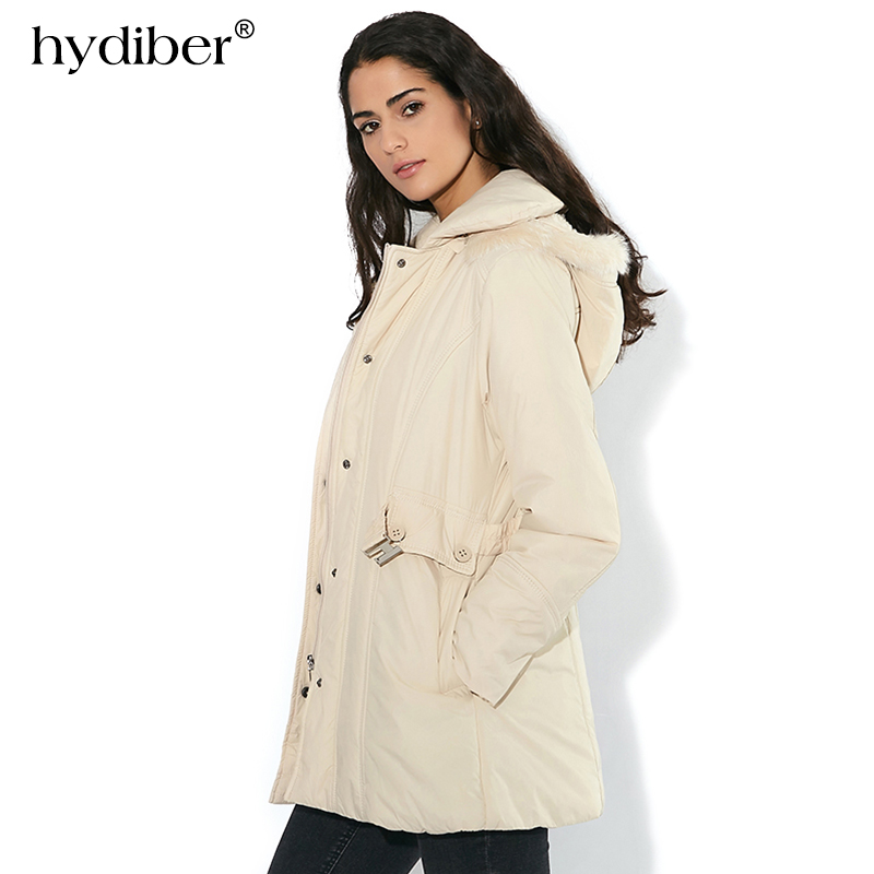 HYDIBER 2018 New Brand Winter Coat Women Single Breasted Outerwear Elastic Sashes Cotton Padded Long Jacket Solid Hooded Parkas