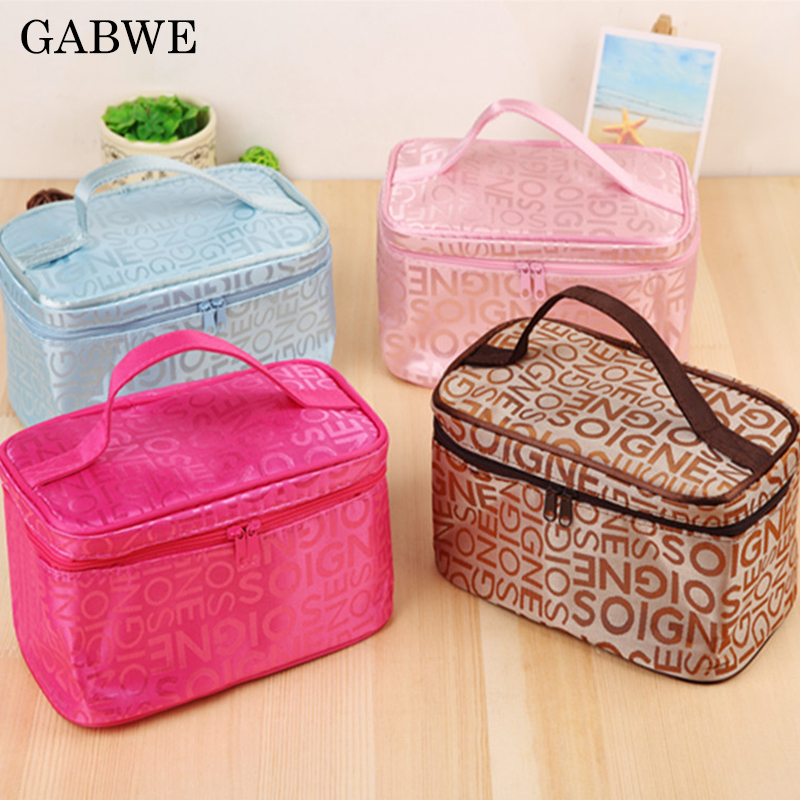 GABWE Multifunction Portable Zipper Cosmetic Bag Cases Beauty Make Up Bag Purse Storage Travel Wash Pouch Organizer Accessories