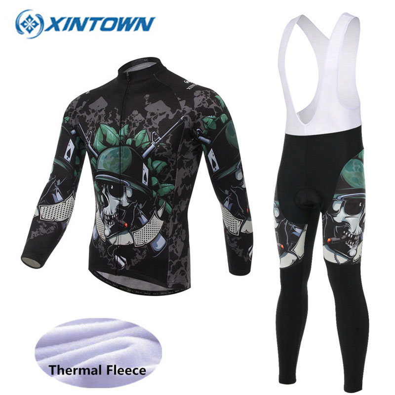 Skull Style 2018 Winter Cycling Clothing Thermal Fleece Pro Team Cycling Jersey Set MTB Ropa Ciclismo
