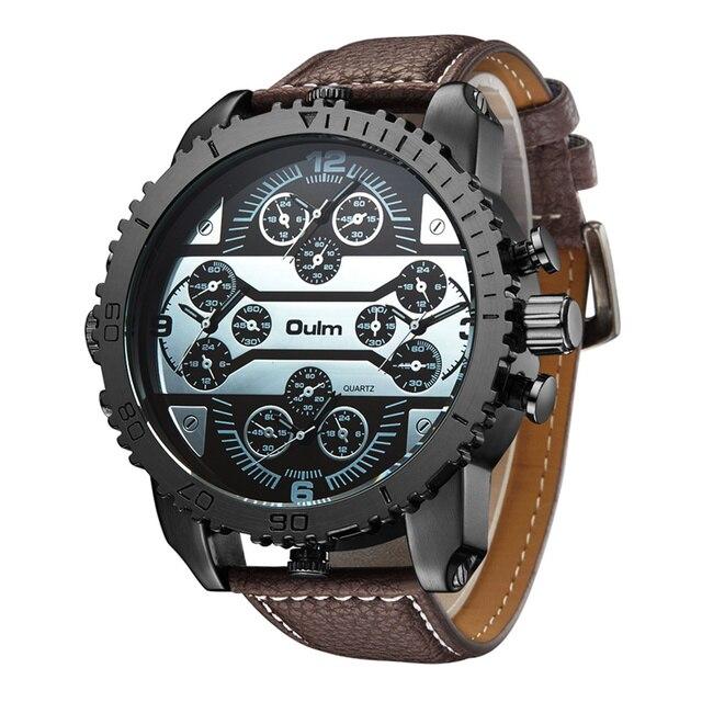 276b75e735f Oulm Homens Esportivos Da Marca Grande Relógio de Couro Cinta Quatro Fusos  horários Relógio de Quartzo