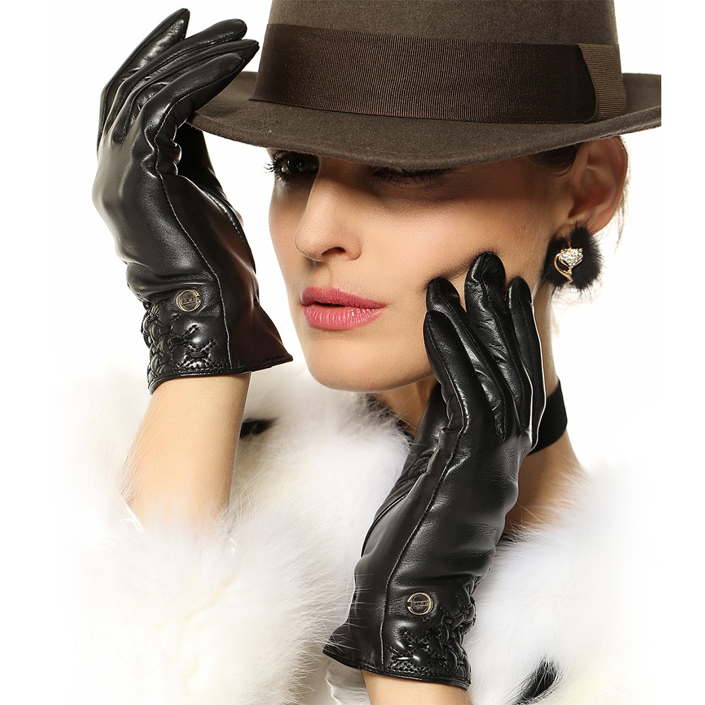 Long black leather gloves prices - Sale Genuine Leather Gloves Women Top Quality Wrist Goatskin Glove Five Finger Fashion Solid Sheepskin For