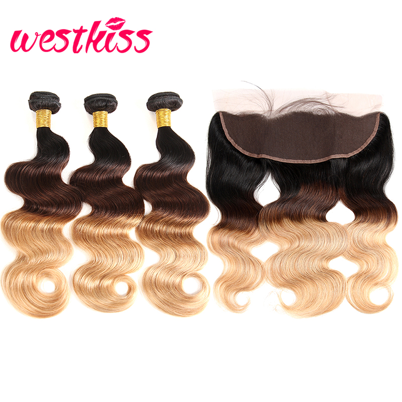 West Kiss 1B/4/27 Ombre Hair Body Wave Bundles With Frontal 3 Bundles Brazilian Body Wave Pre Plucked Lace Frontal Remy Hair