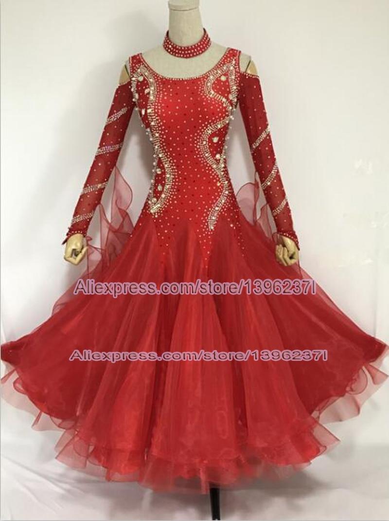 Women's Standard Ballroom Dance Dress Red 2019 Lady's New Design Waltz Ballroom Competition Dance Dresses