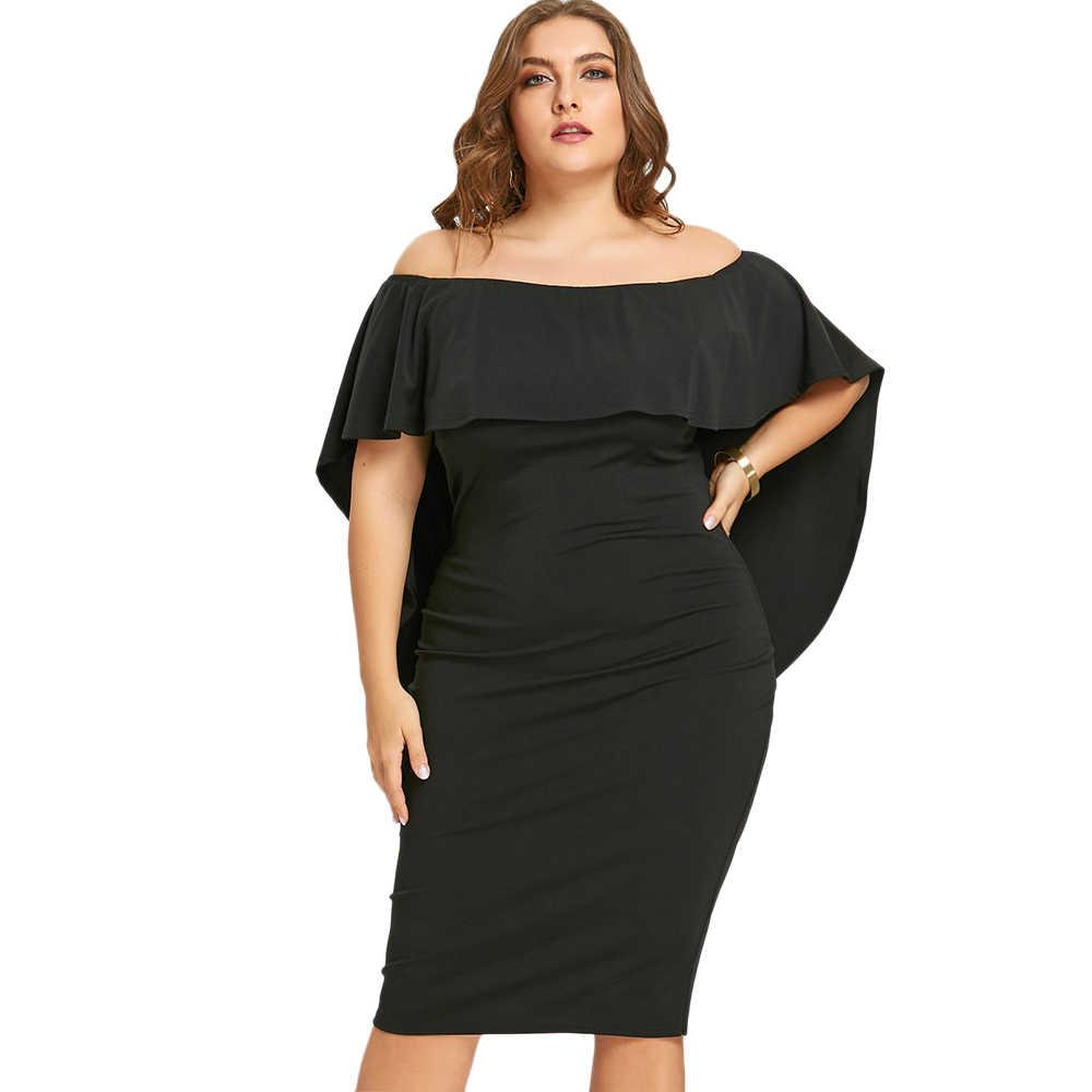 Women Elegant Party Dress Plus Size 5XL Overlay Off The Shoulder Sheath  Dress Casual Black Bodycon 1d0c428061ce