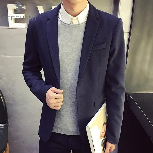 ZEESHANT 2017 New Arrival Blazer Masculino Korean Slim Fit Mens Suit Jacket Fashion XXXL Casual Suits in Men's Suit Jackets
