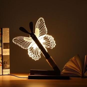 Lampe à poser 3D Papillon Bois Stand veilleuse 3D 1