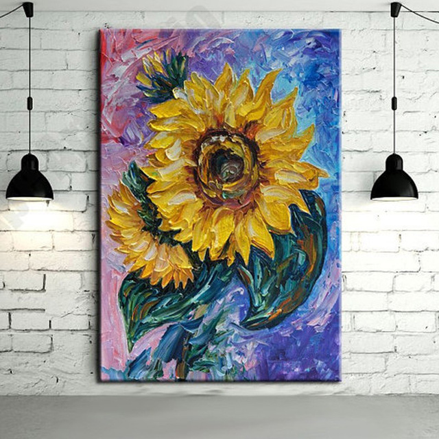 Modern Hand Painted Abstract Sunflower Palette Knife Oil