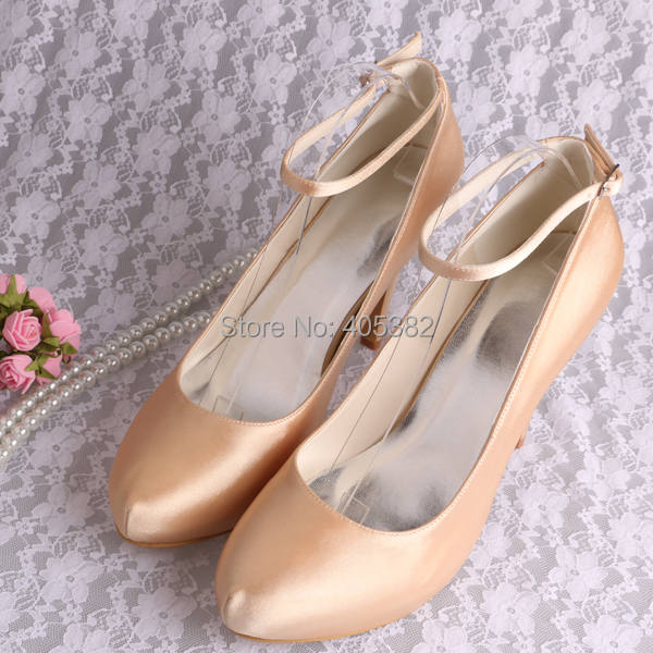 Customized Women Wedding Shoes Champagne Color Satin High Heels 10cm With Ankle Strap Free