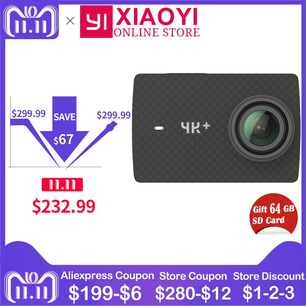 Free Gift 64G SD Card Xiaomi YI 4K Plus Action Camera Ambarella H2 4K/60fps 12MP 155 Degree 2.19 Xiaomi YI 4K+ Sports Camera bailehou fashion women slippers crytal flip flops sandals slip on slides beach slipper flat casual shoes diamond bohemian shoes