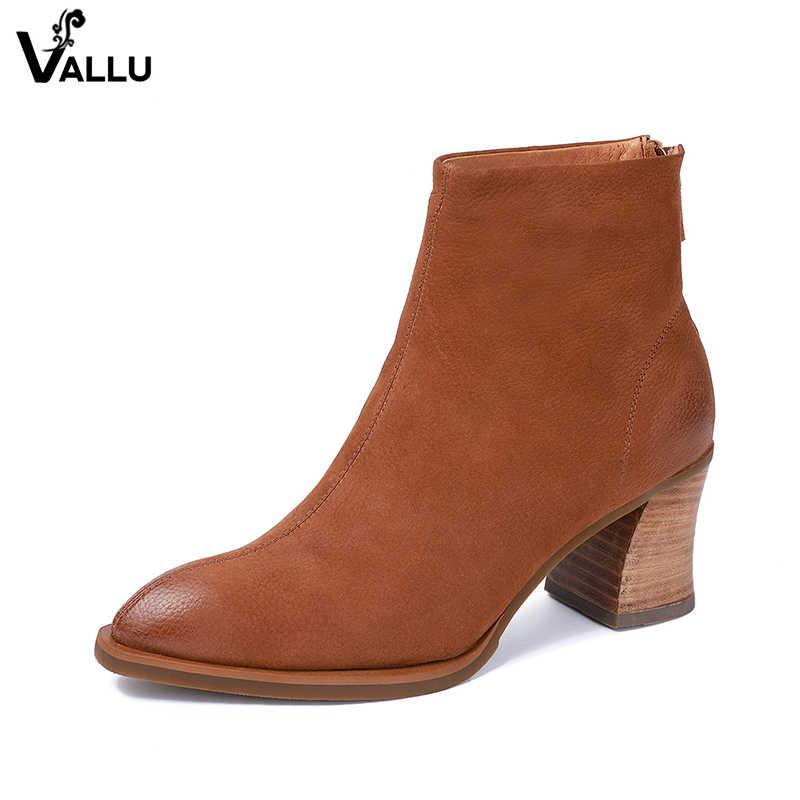 2018 VALLU sonbahar yeni hakiki deri ayakkabı kadın yarım çizmeler sivri burun blok topuk kadın patik kış kar sıcak botlar