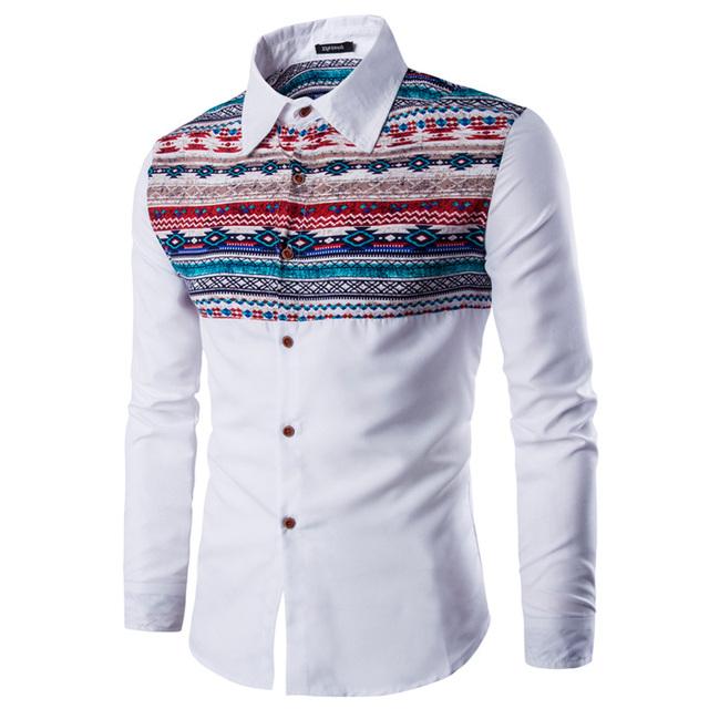2016 Nuevos Hombres de la Moda Camisas Casuales Camisas de Vestir Nacional Estilo Retro Diseño Del Mosaico de Los Hombres Ocio de Manga Larga Slim Fit Camisas Tops