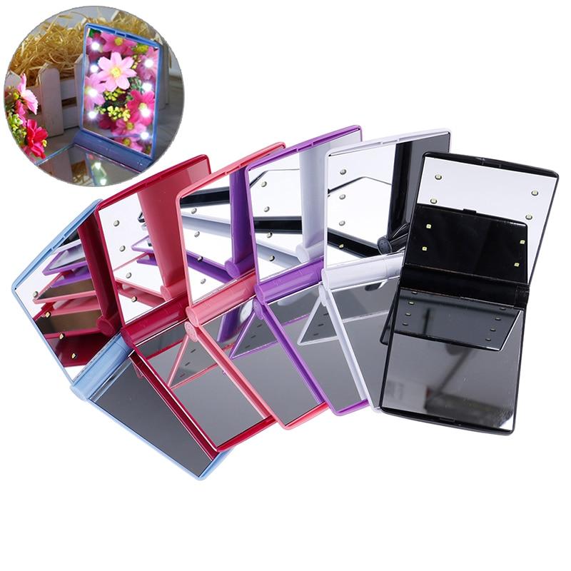 Spiegel Mutig Mode Frauen Make-up Spiegel 8 Led-leuchten Lampen Kosmetische Folding Tragbaren Compact Tasche Hand Spiegel Make-up-tool Schminkspiegel