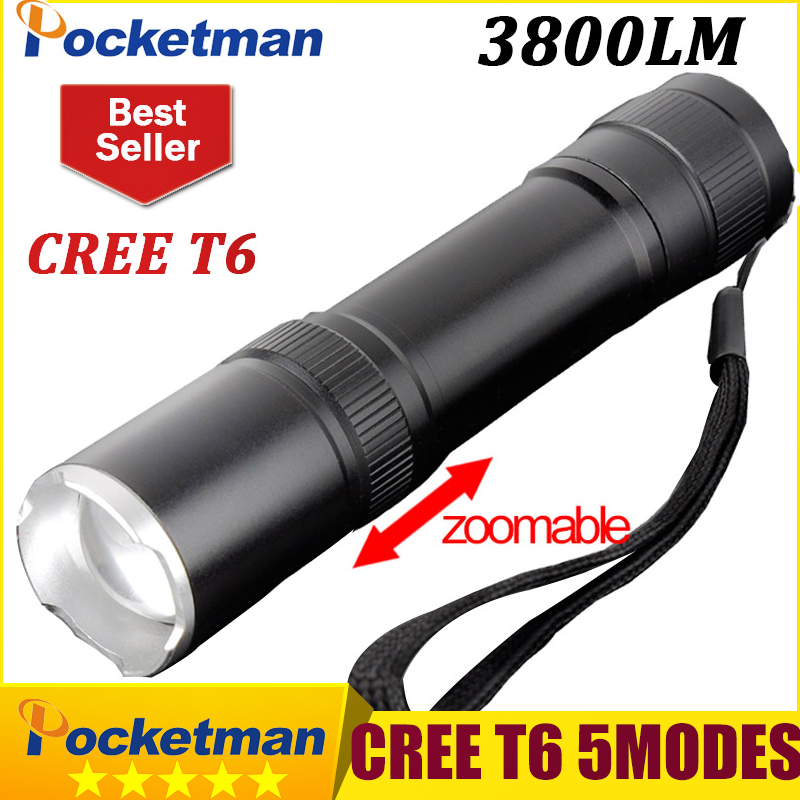 CREE XM-L T6 Mini Flashlight 3800lm Waterproof LED Flashlight 5 Modes LED Torch Light  Rechargeable Tactical 18650 Lanterna 3800lm cree xm l t6 5 modes led tactical flashlight torch waterproof hunting flash light lantern zaklamp taschenlampe torcia