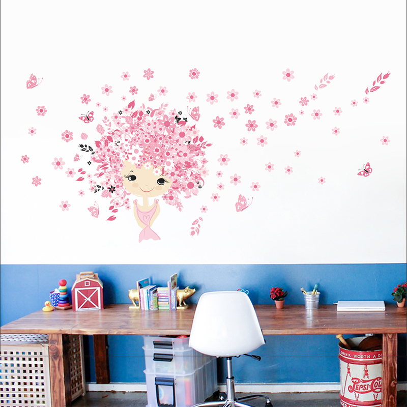 Cute Pink Flower Baby Mermaid For Kids Girl Bedroom Wall Sticker Home Decal 068. Decor Carton Mural Children Room Decoration